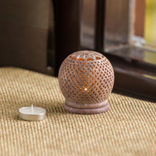 Load image into Gallery viewer, 'The Shimmery Mughal Jali' Hand Carved Table Tea-Light Holder In Soapstone (3 Inch)