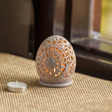 Load image into Gallery viewer, 'The Dazzling Mughal Floral Egg' Hand Carved Table Tea-Light Holder In Soapstone (4 Inch)