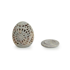 'The Dazzling Mughal Floral Egg' Hand Carved Table Tea-Light Holder In Soapstone (4 Inch)