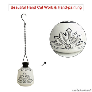 'The Warli Tales' Hand-Painted Hanging Tea-Light Holder In Terracotta (16 Inch, White)