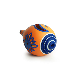 'The Warli Tales' Hand-painted Tea-Light Holder In Terracotta (4 Inch, Orange)