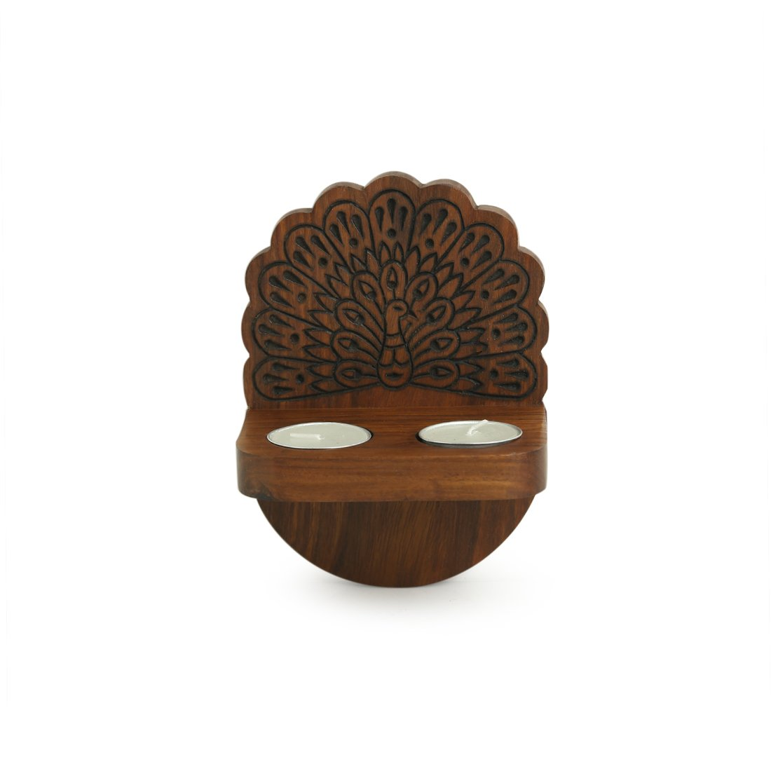 'The Dancing Peacock' Hand Carved Wall Tea Light Holder in Sheesham Wood