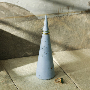 'Cone Of The Rings' Handcrafted Terrazzo Ring Holder In Concrete