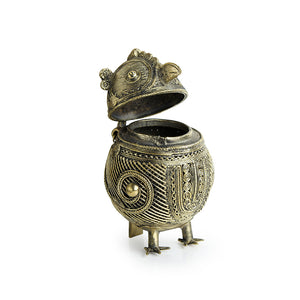 """Royal Owl Chest"" Brass Multi Utility Jewellery Box Handmade in Dhokra Art"