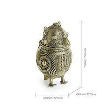 "Load image into Gallery viewer, ""Royal Owl Chest"" Brass Multi Utility Jewellery Box Handmade in Dhokra Art"