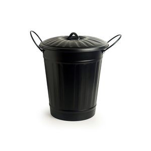 """Matte Black Bucket"" Multi-utility Container & Dust Bin In Iron (13 Inch)"