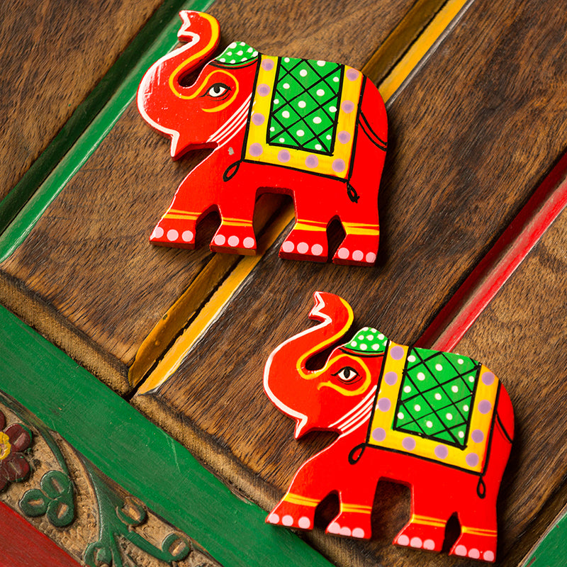 'Sticky Elephants' Hand-Painted Fridge Magnets In Chilbil Wood (Set of 2)