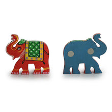 Load image into Gallery viewer, 'Sticky Elephants' Hand-Painted Fridge Magnets In Chilbil Wood (Set of 2)