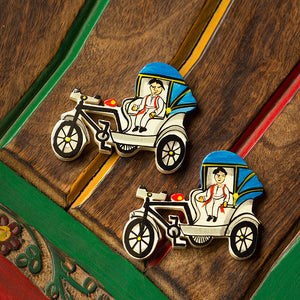 'The Sticky Rickshaws' Hand-Painted Fridge Magnets In Chilbil Wood (Set of 2)
