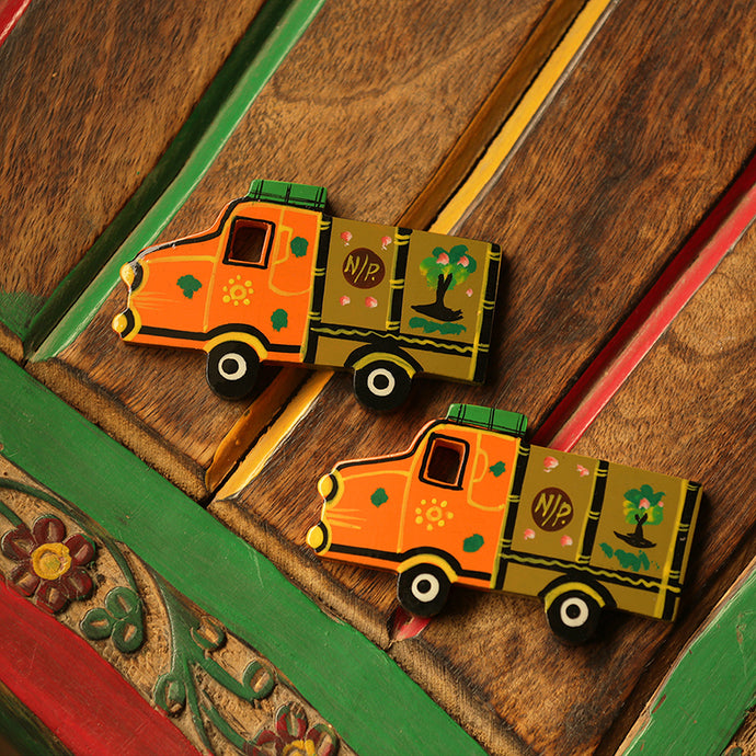 'The Sticky Trucks' Hand-Painted Fridge Magnets In Chilbil Wood (Set of 2)