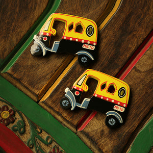 'The Sticking Autos' Hand-Painted Fridge Magnets In Chilbil Wood (Set of 2)