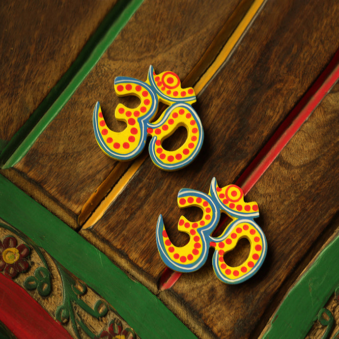 'Magnetic Om Pair' Hand-Painted Fridge Magnets In Chilbil Wood (Set of 2)