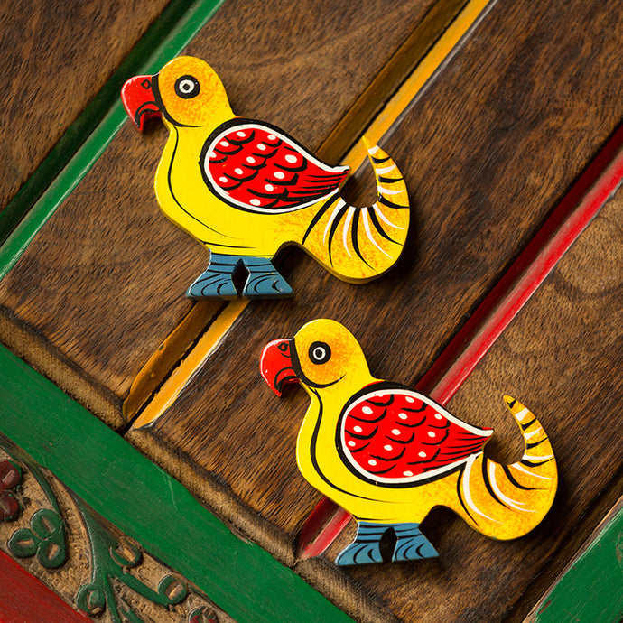 'The Sticky Parrots' Hand-Painted Fridge Magnets In Chilbil Wood (Set of 2)