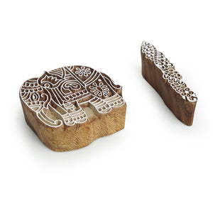 """Enthralling Elephants & Finger"" Hand-Carved Printing Blocks In Sheesham Wood (Set of 2)"