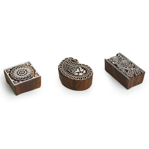"""Appealing Artefacts"" Hand-Carved Printing Blocks In Sheesham Wood (Set of 3)"