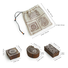 "Load image into Gallery viewer, ""Appealing Artefacts"" Hand-Carved Printing Blocks In Sheesham Wood (Set of 3)"
