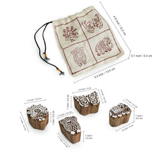 "Load image into Gallery viewer, ""Exquisite Creatures"" Hand-Carved Hand Block Printing Blocks In Sheesham Wood (Set of 4)"