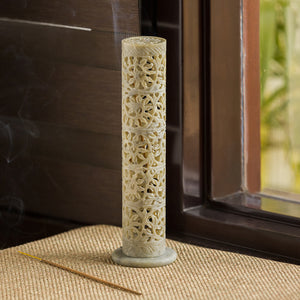 'The Mughal Floral Scents' Hand Carved Incense Stick Holder In Soapstone (4 Sticks Holder, 10 Inch)