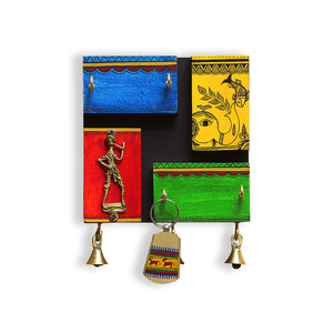 'In-Key-Geneous' Warli Hand-Painted Wooden Key Holder With Dhokra Art