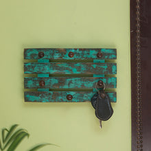 Load image into Gallery viewer, 'Keys on Teal Plank' Antique Finish Key Holder (6 Hooks)