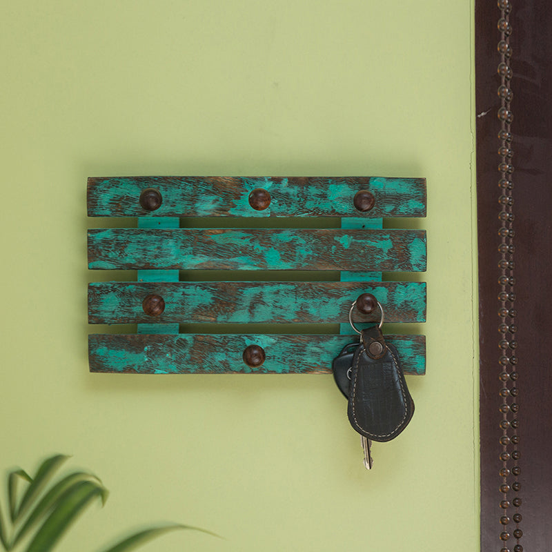 'Keys on Teal Plank' Antique Finish Key Holder (6 Hooks)