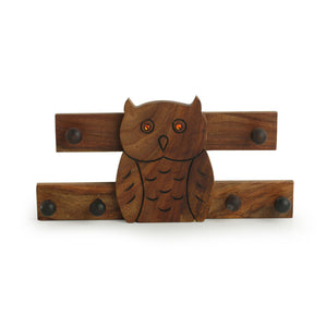 Owl On The Wall' Hand Carved Key Hook In Sheesham Wood (6 Hooks)