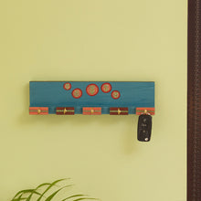 Load image into Gallery viewer, 'Oasis Hooks' Hand-Painted Key Holder In Pine Wood (5 Hooks)