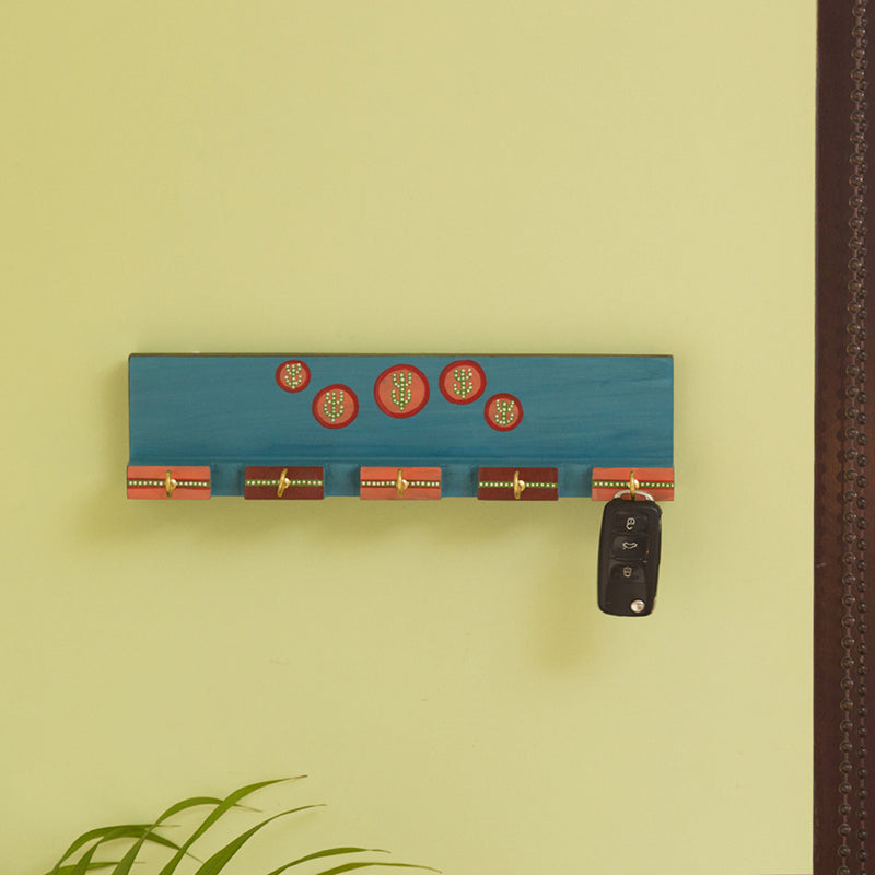 'Oasis Hooks' Hand-Painted Key Holder In Pine Wood (5 Hooks)