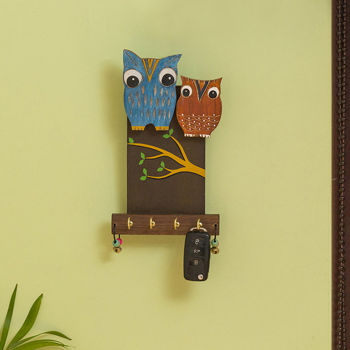'Owl Couple' Decorative Wooden Key Holder (4 Hooks)