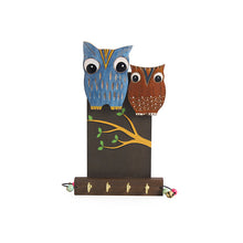Load image into Gallery viewer, 'Owl Couple' Decorative Wooden Key Holder (4 Hooks)