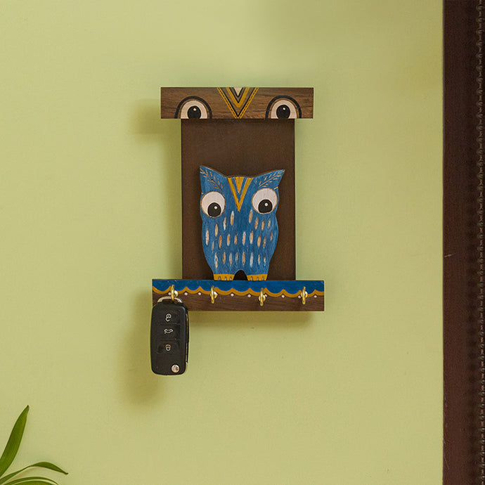 'Owl Coco' Decorative Wooden Key Holder (4 Hooks)