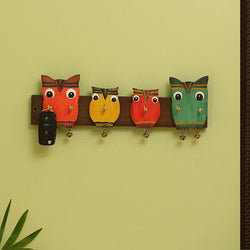 'Owl Family' Decorative Key Holder In Mango Wood (6 Hooks)