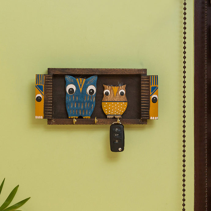 'Owl & Owlet' Decorative Key Holder In Mango Wood (5 Hooks)