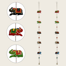 Load image into Gallery viewer, 'The Hanging Elephants' Hand-Painted Decorative Toran In Chilbil Wood (Set of 2)