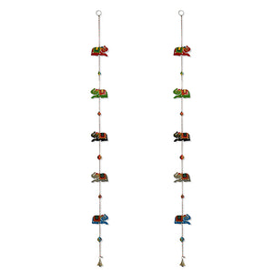 'The Hanging Elephants' Hand-Painted Decorative Toran In Chilbil Wood (Set of 2)