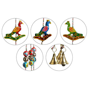 'The Flying Peacocks' Hand-Painted Decorative Wind Chimes In Chilbil Wood