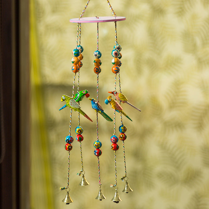 'The Flying Parrots' Hand-Painted Decorative Wind Chimes In Ashok Wood