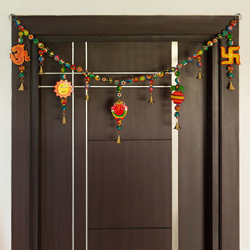 'The Holy Hanging' Hand-Painted Decorative Toran In Ashok Wood