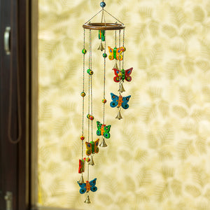 'Eight Flying Butterflies' Hand-Painted Decorative Wind Chimes In Chilbil Wood