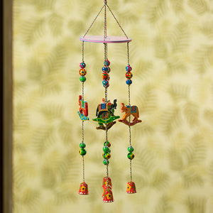 'The Flying Elephants' Hand-Painted Decorative Wind Chimes In Chilbil Wood