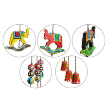 Load image into Gallery viewer, 'The Flying Elephants' Hand-Painted Decorative Wind Chimes In Chilbil Wood