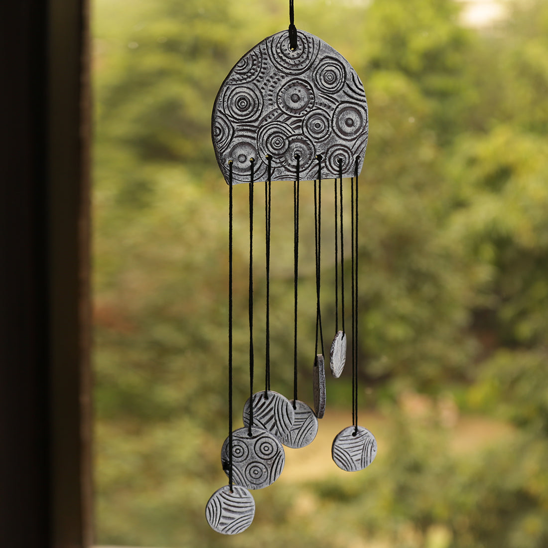 """Ocean Breeze"" Handmade & Hand-Painted Garden Decorative Hanging & Wind Chime In Terracotta"