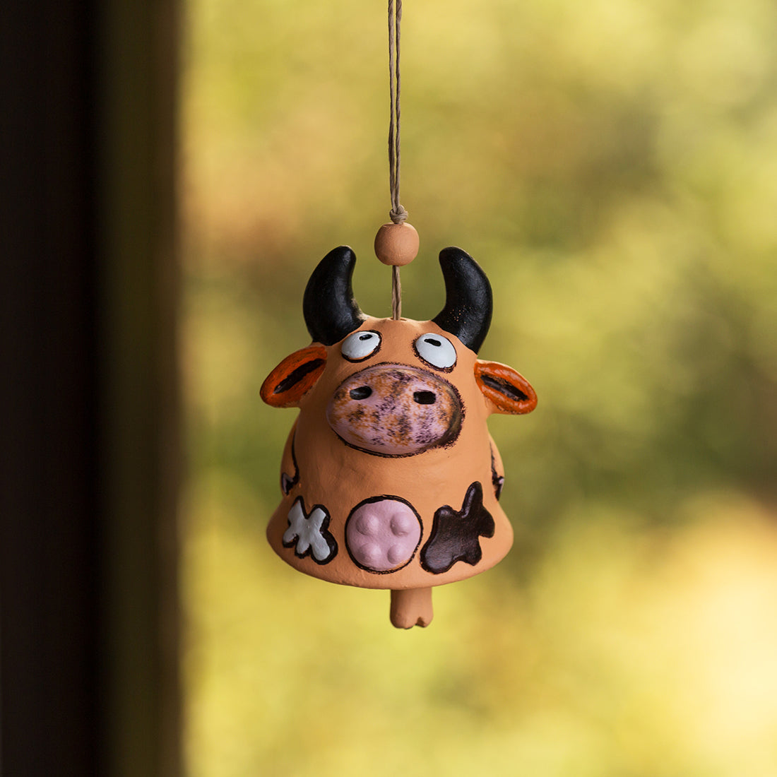 """Bovine Melody"" Handmade & Hand-Painted Garden Decorative Hanging & Wind Chime In Terracotta"