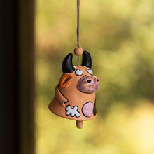 "Load image into Gallery viewer, ""Bovine Melody"" Handmade & Hand-Painted Garden Decorative Hanging & Wind Chime In Terracotta"
