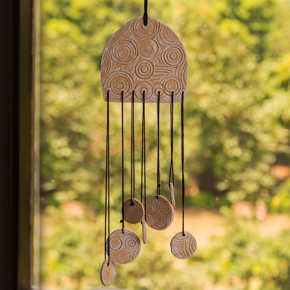 """Zephyr's Tune"" Handmade & Hand-Painted Garden Decorative Hanging & Wind Chime In Terracotta"