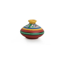 "Load image into Gallery viewer, ""Warli Red Matkis"" Hand-Painted Vases Combo In Terracotta (Set of 3)"