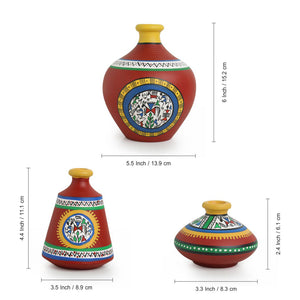 """Warli Red Matkis"" Hand-Painted Vases Combo In Terracotta (Set of 3)"