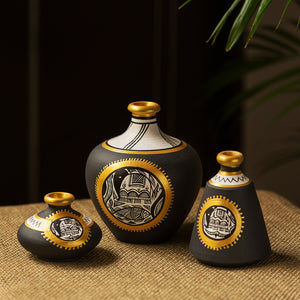 """Madhubani Jet Black Matkis"" Hand-Painted Vases Combo In Terracotta (Set of 3)"
