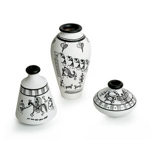 """Warli White Matkis"" Hand-Painted Vases Combo In Terracotta (Set of 3)"