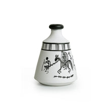 "Load image into Gallery viewer, ""Warli White Matkis"" Hand-Painted Vases Combo In Terracotta (Set of 3)"